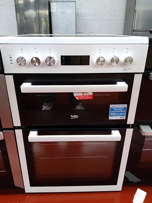Beko Electric Cooker 60cm Double Oven (White)