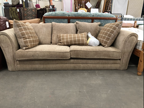 3 Seater Oatmeal Fabric Sofa