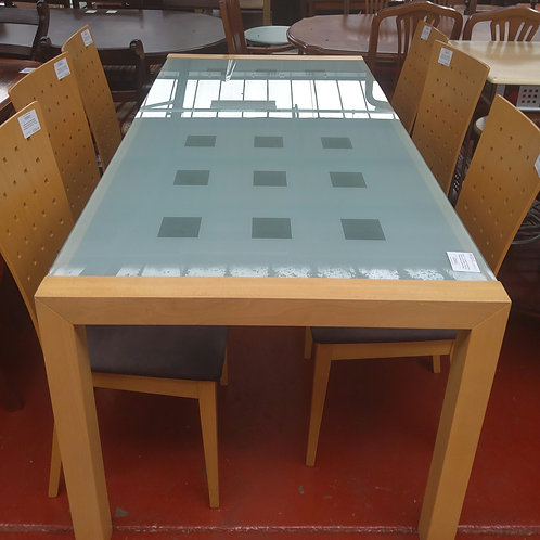 Beech with frosted glass dining table and 6 chairs (damage to fabric on 1 chair)