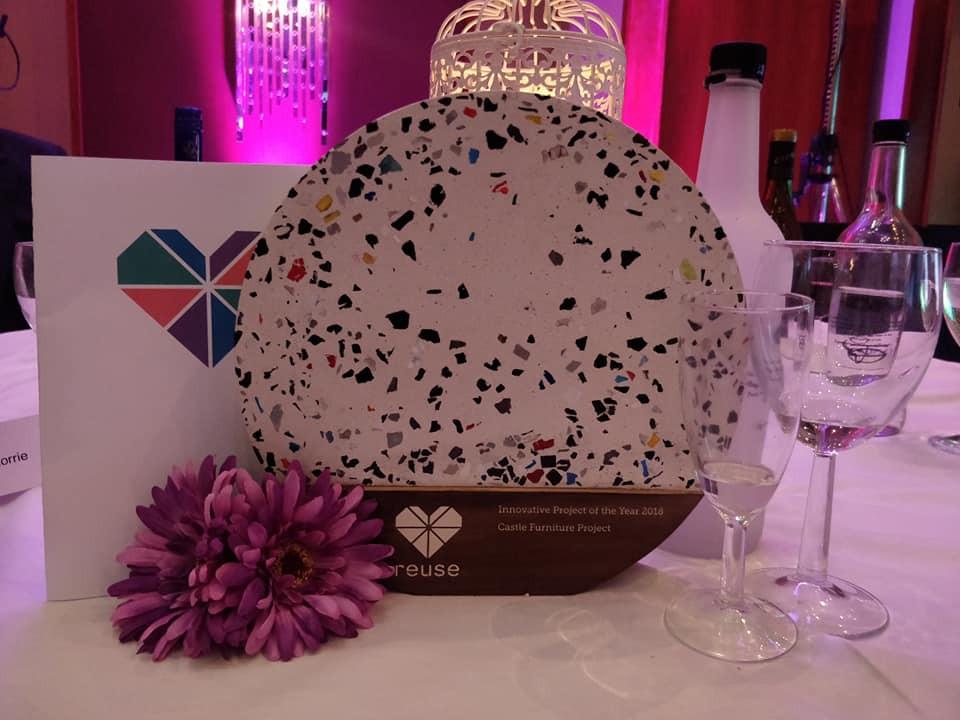 The award on a dinner table setting.