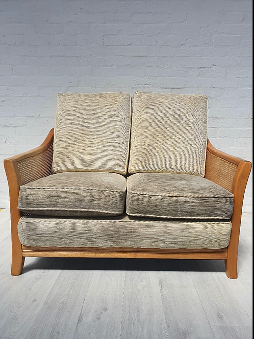 2 Seater Cream Fabric Sofa with Wooden Frame