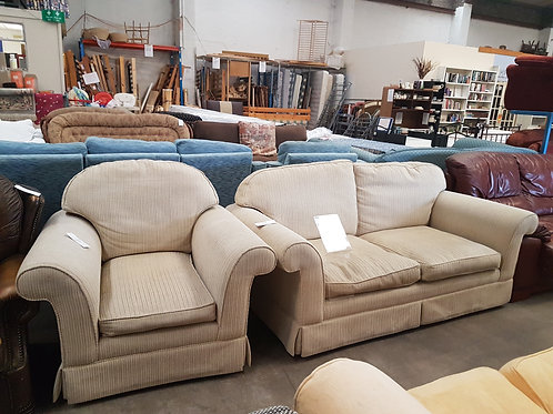 Laura Ashley 3 Seater Sofa and Armchair, Cream Fabric