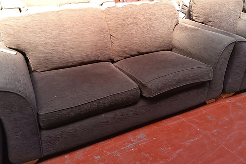 Brown fabric 3 seater and 2 chairs
