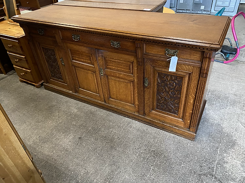 Large Solid Wood Sideboard, 3 Drawers and 3 Cupboards Brass Handles
