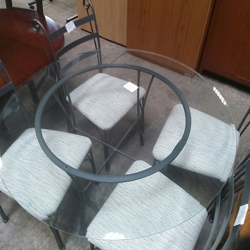 Glass and Metal Table and 4 chairs