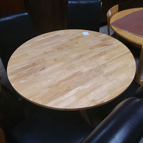 Pine Dining Table and 4 Leather Chairs