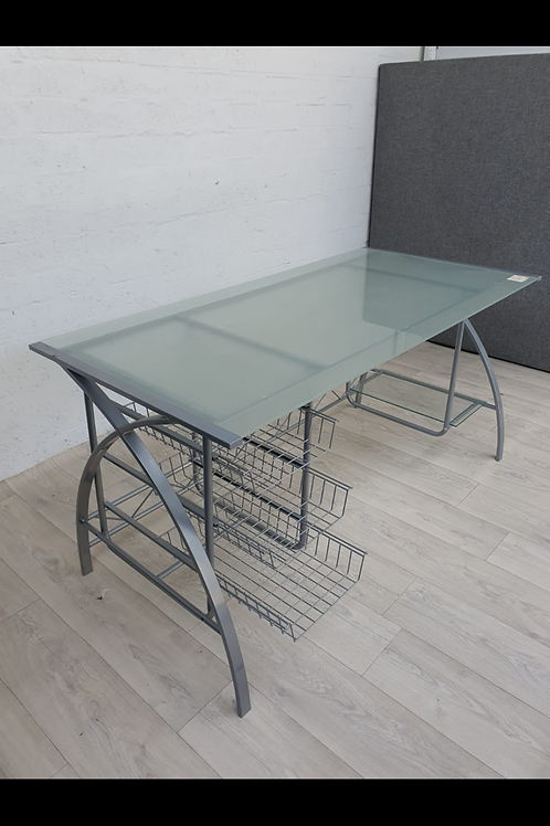 Large Glass and Metal Desk