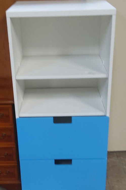 White and Blue Office Storage Unit