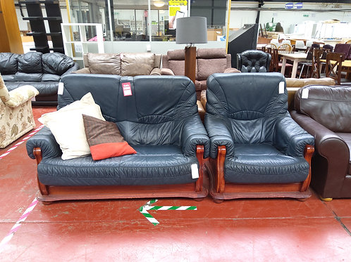 Blue leather sofa with chair