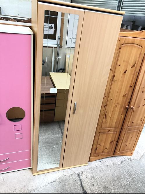 Large Beech Wardrobe with Mirror on Door