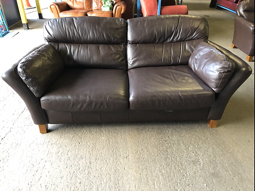 NEXT Brown Leather Sofa and Chair