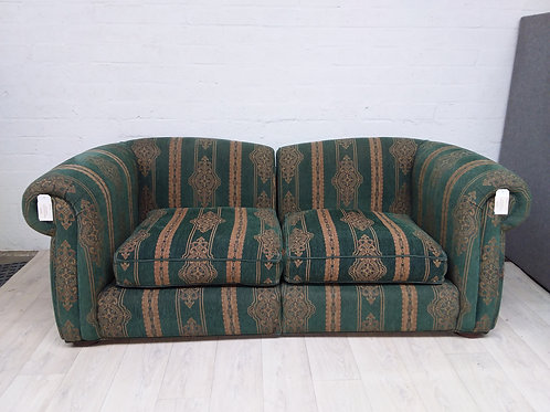 Green & Gold Fabric 2 Seater Sofa