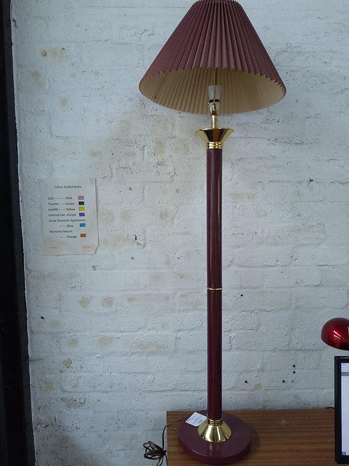 Maroon standard lamp and shade
