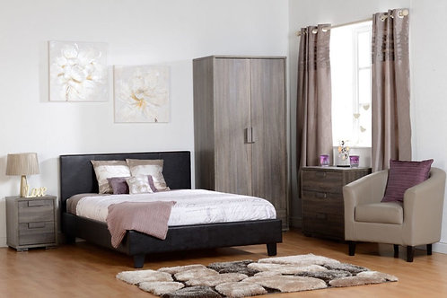 """Double Bed BasePrado 4'6"""" Bed - Brown Faux Leather"""