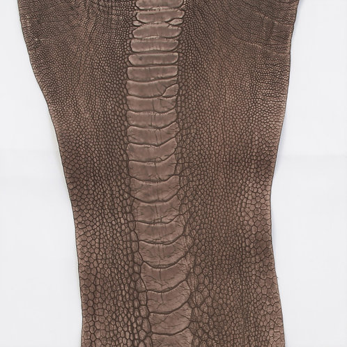 Ostrich Legs Skin Leather, stone washed Nicotine Color