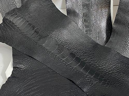 Ostrich Legs Skin Leather, Black Color Grade A