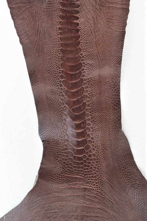 Ostrich Legs Skin Leather Brown Color