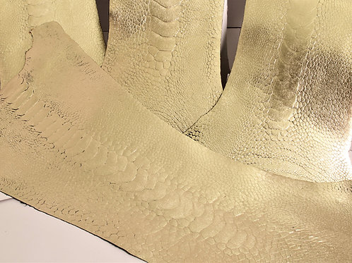 Ostrich Legs Skin Leather Gold Color