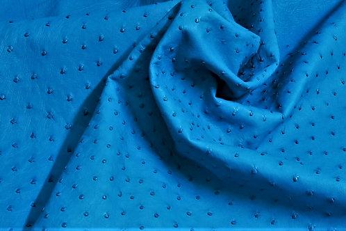 Ostrich Leather Hide, Caribbean Blue Color