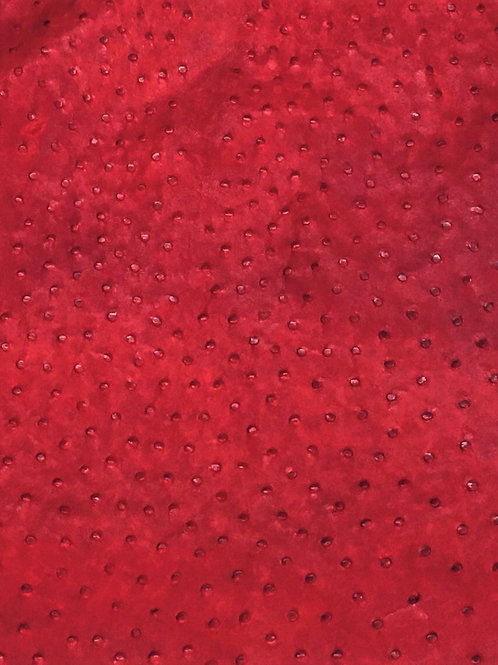 Ostrich Leather Hide, Vintage Flame Red Color