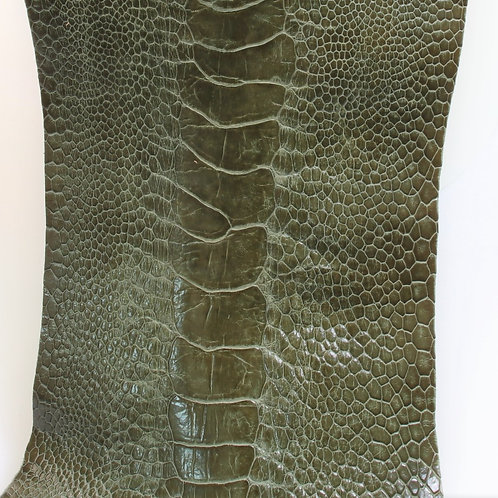 Ostrich Legs Skin Leather, Olive Green Color
