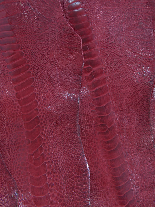 Ostrich Legs Skin Leather, Flame Red Color GradeB