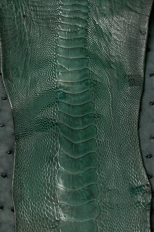 Ostrich Legs Skin Leather, Midnight Green Color Grade A