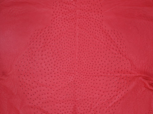 Ostrich Leather Hide, Scarlet Red Color