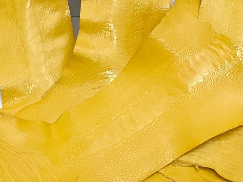 Ostrich Legs Skin Leather Yellow Color