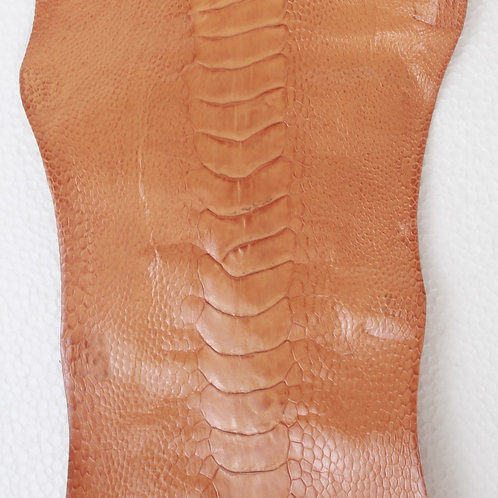 Ostrich Legs Skin Leather, Cognac Color Grade A