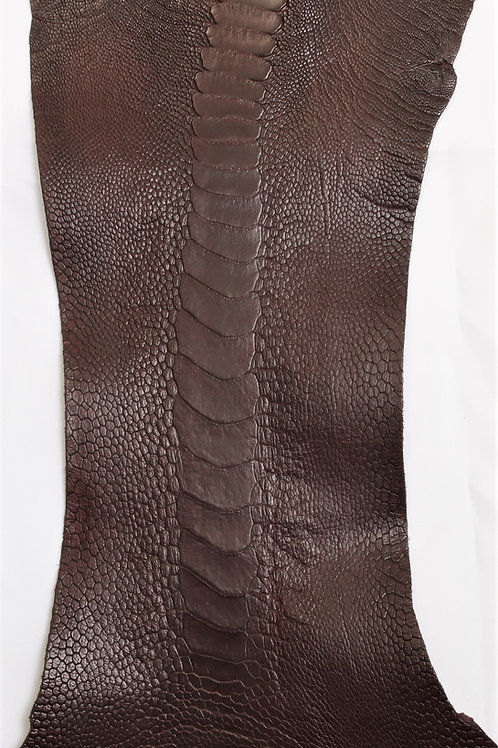 Ostrich Legs Skin Leather, Mahogany Color