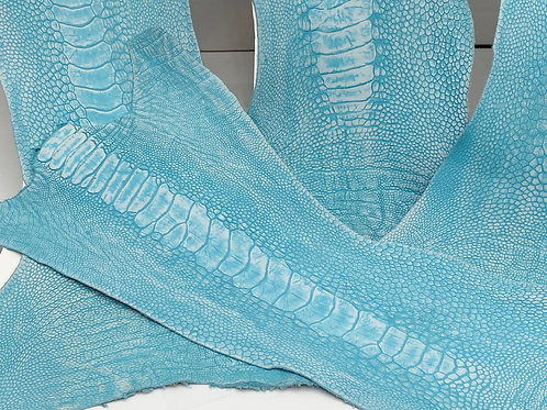 Ostrich Legs Skin Leather, Turquoise stonewashed