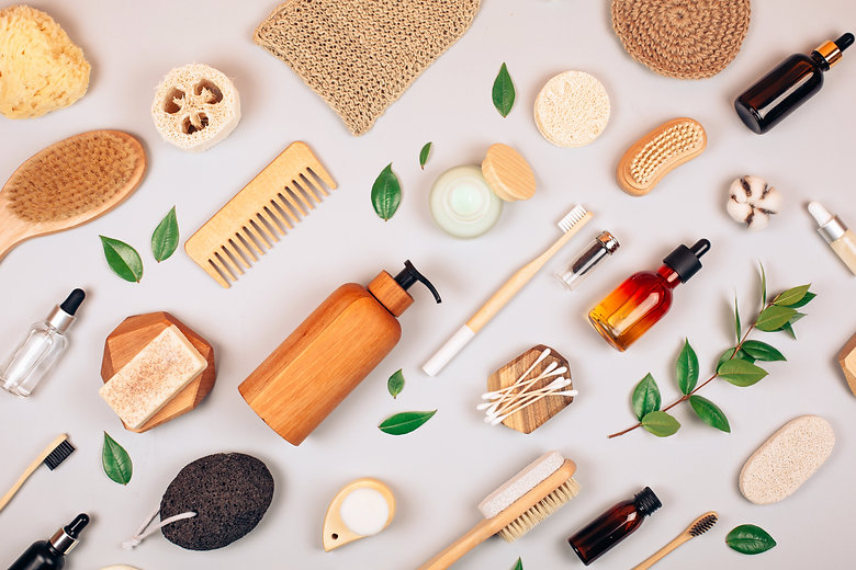 Zero waste self-care products. Flat lay
