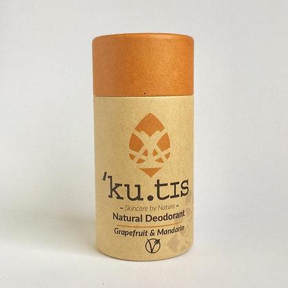 Kutis deodorant in cardboard tube with terracotta coloured lid