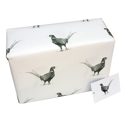 White wrapping paper with black and white pheasant design
