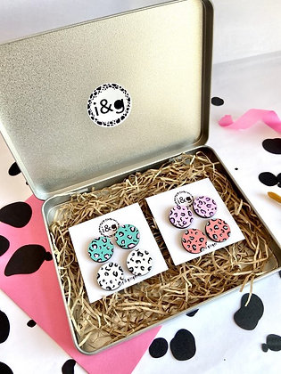 Leopard Print Hand Painted Earring Gift Set