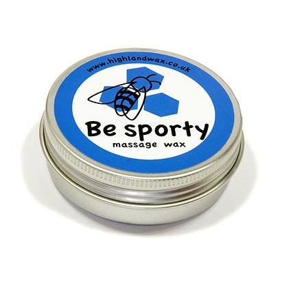 Be Sporty massage wax in aluminium tin for tired muscles