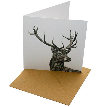 Stag portrait design card on white