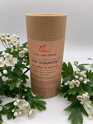Dry shampoo for medium to dark hair in cardboard shaker tube
