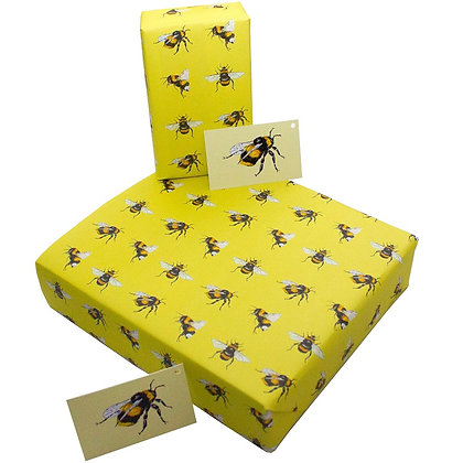 Eco-Friendly Wrapping Paper by Sophie Botsford in Yellow Bee Design
