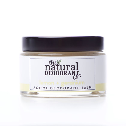 Active Deodorant in Lemon and Geranium in a glass jar