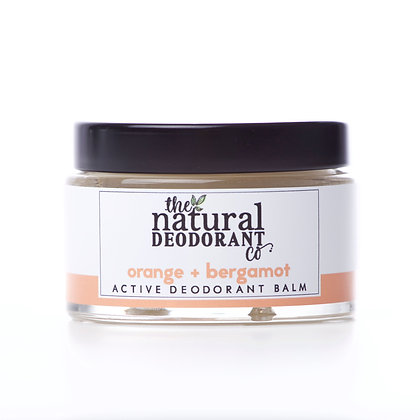 Active Natural Deodorant in a glass jar in Orange and Bergamot by the natural deodorant company