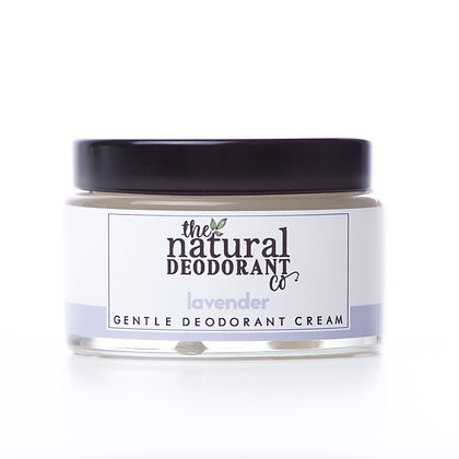 Gentle Lavender Deodorant by the Natural Deodorant Company in a glass jar
