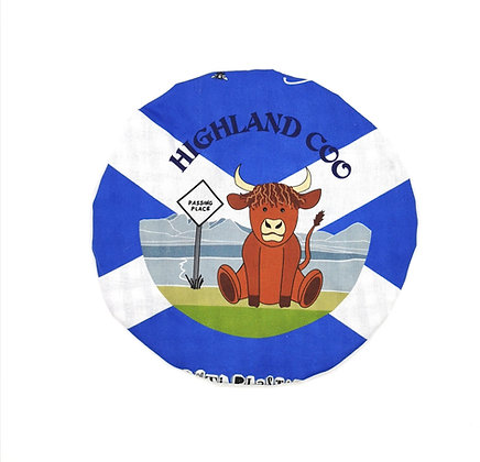 Handmade in Scotland, 100% Cotton Fabric Bowl Cover in Medium Highland Cow