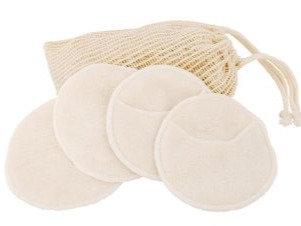 Image of 4 bamboo facial pads on a small natural bag