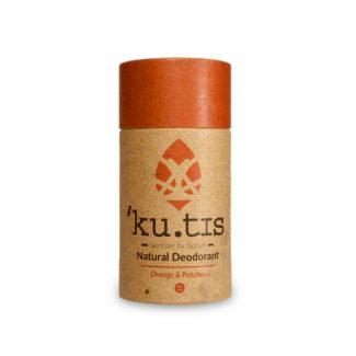 Kutis deodorant with orange lid in cardboard tube