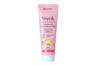 pink chalk toothpaste tube for kids