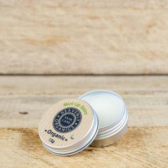 open tin of lip balm on wooden plank
