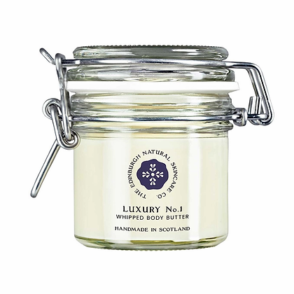 Glass jar of Luxury No. 1 Body Butter by the Edinburgh Natural Skincare Company