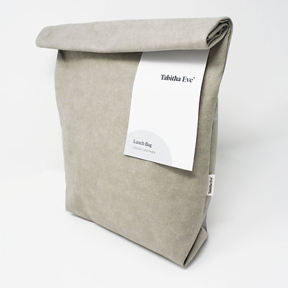 Vegan leather lunch bag in stone